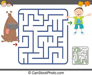 maze game with boy and dog