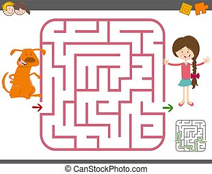 maze game with girl and dog