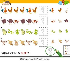 finish the pattern activity - Cartoon Illustration of...