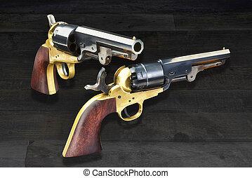 Western Cowboy Pistols. - American wild west pistols called...