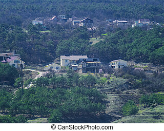 Houses in the suburbs on the mountainside