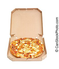 Whole pizza in a box - Pizza with various cheese toppings in...