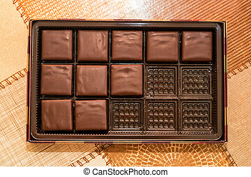 Chocolate sweets in box