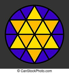 Hexagram leadlight impression, generated by a black triangle...