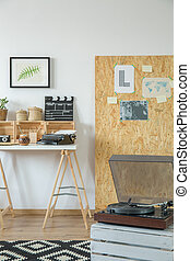 Record player in room - Old record player in cozy modern...