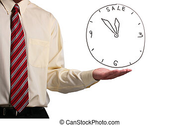 Man showing a clock - Man in a shirt and a tie showing a...