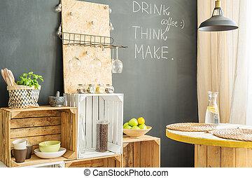de madera, Cajones, cocina