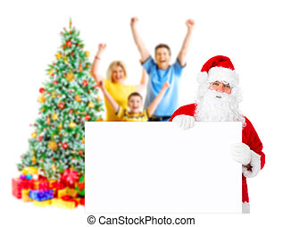 Family, Santa and Christmas Tree - Family, Santa and a...
