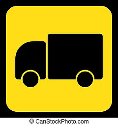 yellow, black information sign - lorry car icon