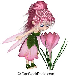 Cute Toon Pink Crocus Fairy, Standing by a Flower