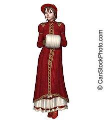Regency Girl in Red Winter Coat