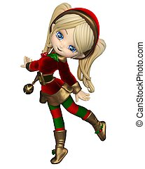 Cute Toon Christmas Elf Girl