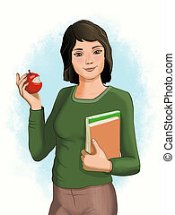 Female student with apple