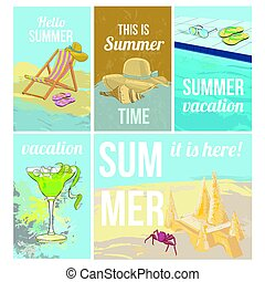 Colorful Hand Drawn Summer Vacation Posters