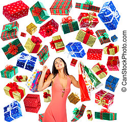 Christmas Shopping  woman smiling. Over white background