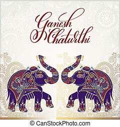 ganesh chaturthi greeting card design with two elephant,...