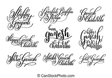lettering to indian holiday ganesh chaturthi - set of black...