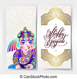 happy ganpati greeting card design with ganesha drawing,...