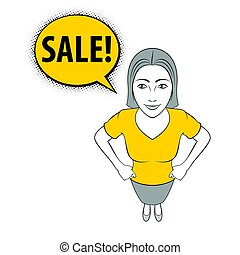 Woman Gesturing - Cartoon Illustration of a Young Woman is...