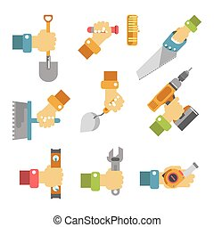 Hands holding tools colorful vector poster on white. Vector...