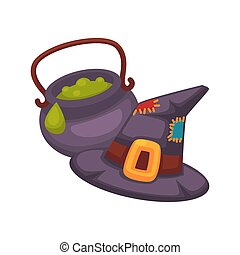 Witch violet hat and pot with porridge on white - Witch...