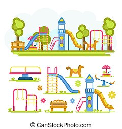 Cartoon bright playground full composition and separate...
