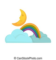 Rainbow in clouds and moon vector illustration isolated on...