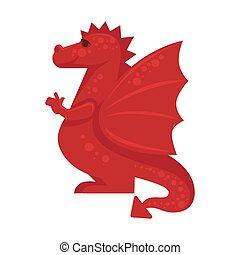 Red dragon mythical monster giant reptile vector...