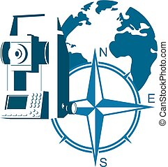 Geodesy symbol vector. The geodetic device and the globe.