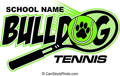 bulldog tennis team design with paw print and racquet for...