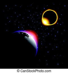The planet and solar eclipse . Vector .