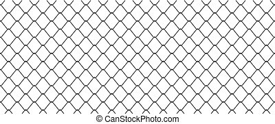 Chainlink fence - silhouette of metal wire mesh, seamless...