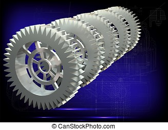 White gears on a blue