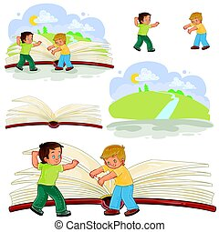 Little boys turn pages great book - Set of vector...