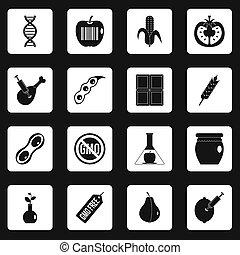 GMO icons set squares - GMO icons set in white squares on...