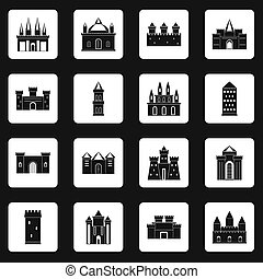 Towers and castles icons set squares - Towers and castles...