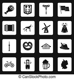 Germany icons set squares - Germany icons set in white...