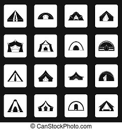 Tent forms icons set squares