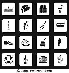 Argentina travel items icons set squares - Argentina travel...