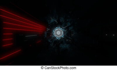 Dark Hexagonal Tunnel - Full HD hexagonal tunnel. High-tech...