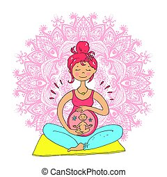 Pregnant tanned woman in lotus position against mandala...