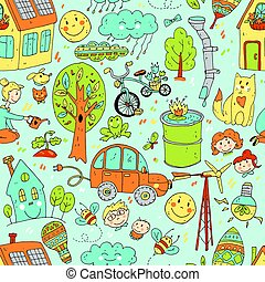 Vector doodle cute seamless pattern of ecology and family. Natur