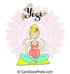 Pregnant woman in lotus position against mandala background....
