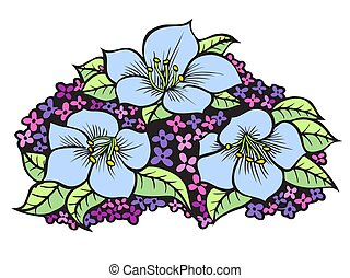 vector blue flowers - vector set of blue flowers, hand drawn...