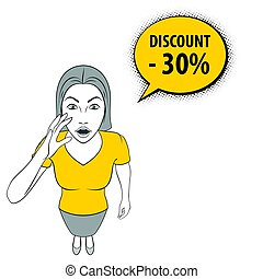 Woman Gesturing - Cartoon Illustration of a Young Woman with...