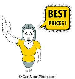 Woman Gesturing - Illustration of a Woman Giving a Thumbs...