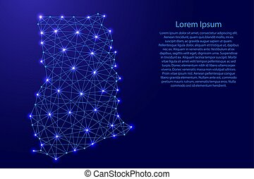 Map of Ghana from polygonal blue lines and glowing stars...