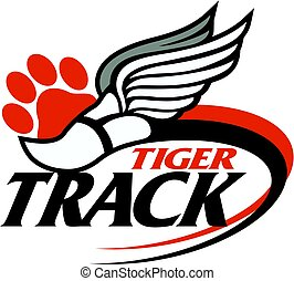 tiger track team design with track foot and paw print for...