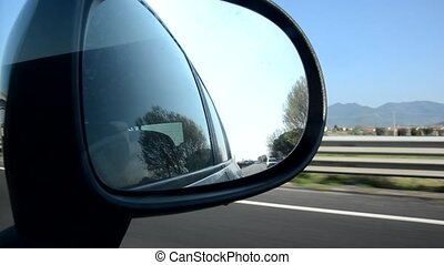 The Italian freeway from the mirror