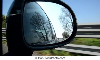 The Italian highway from the mirror